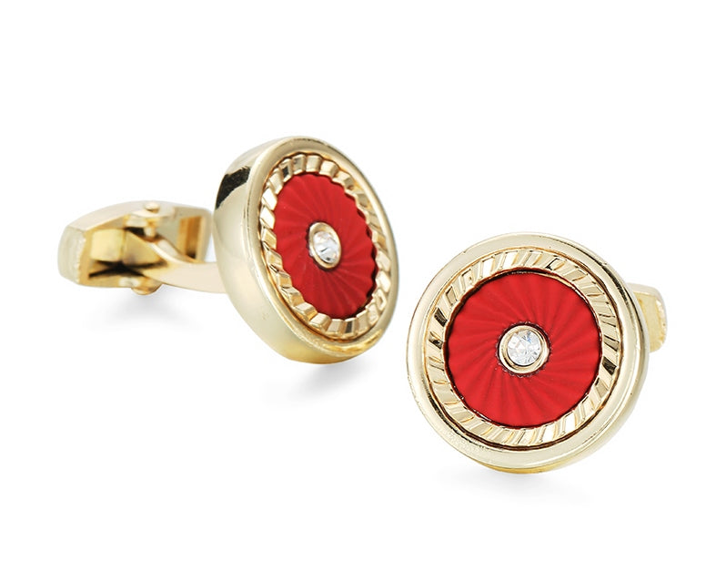 ROUND RED  GOLD CUFFLINKS