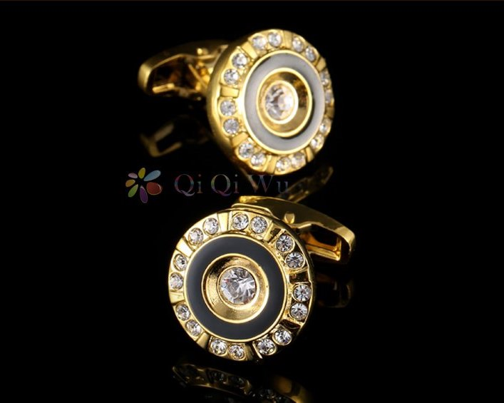 ROUND GOLD CRYSTAL CUFFLINKS