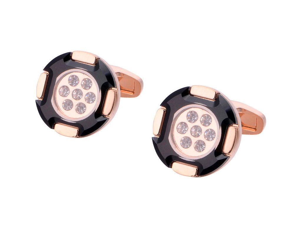 GOLD ROUND CRYSTAL CUFFLINKS