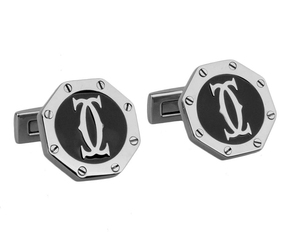 Cartier inspired silver plated black round cufflinks