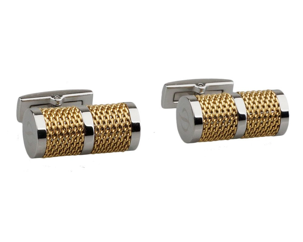 Tube chain gold plated cufflinks
