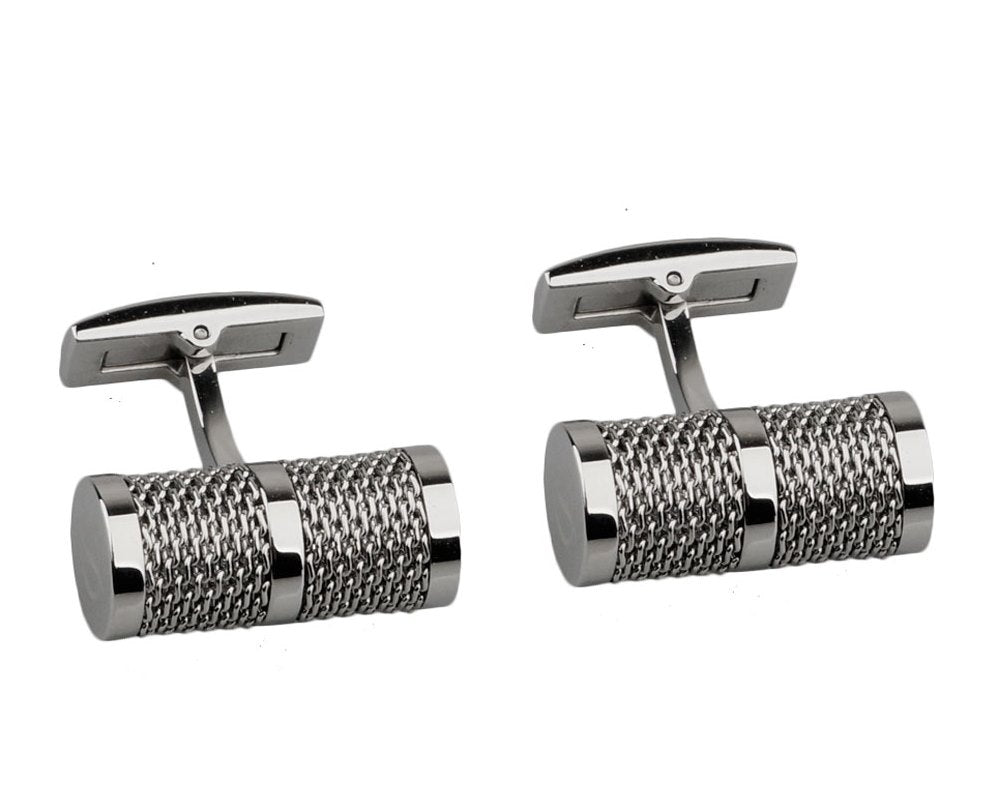 Tube chain silver plated cufflinks
