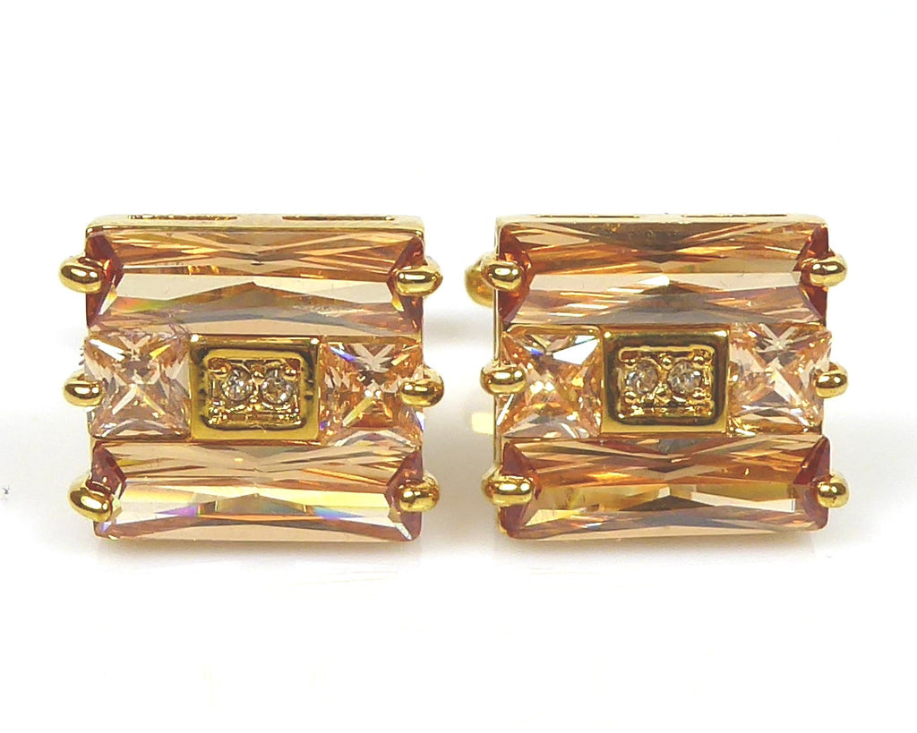 Crystal refined gold Cufflinks