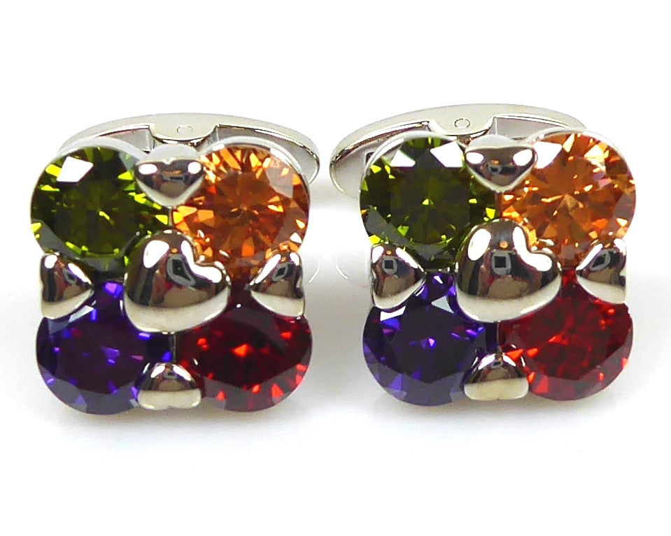 Crystal Flower Shape Cufflinks