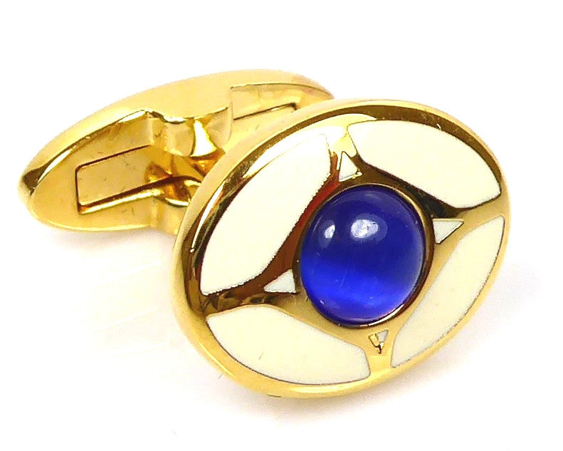 Blue eye Gold Cufflinks