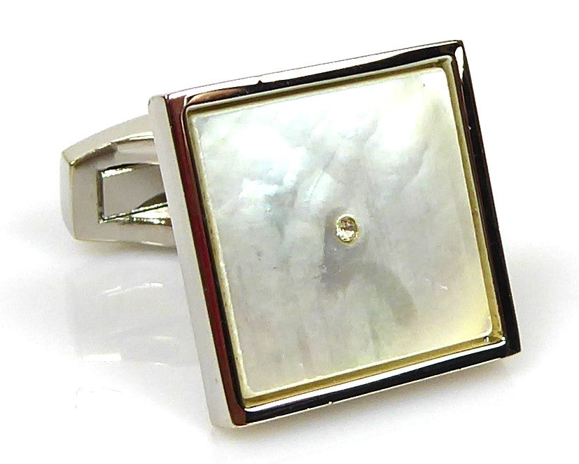 Classic mother pearl silver Cufflinks