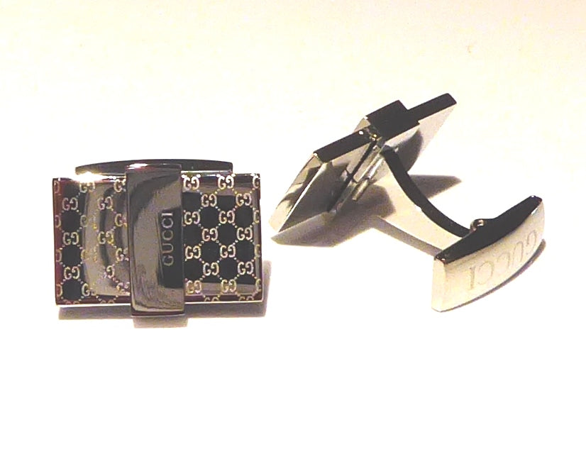 GUCCI INSPIRED SILVER PLATED CUFFLINKS