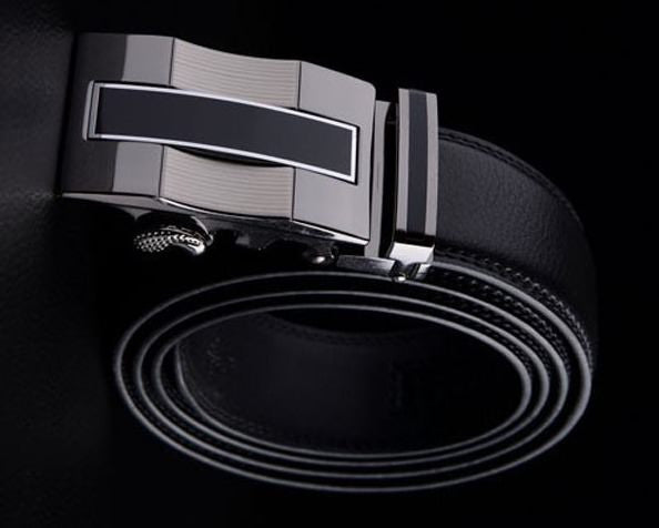 Genuine leather belt, automatic buckle