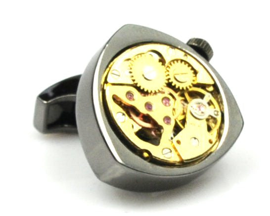 Steampunk Black Triangle Watch Movement Cufflinks