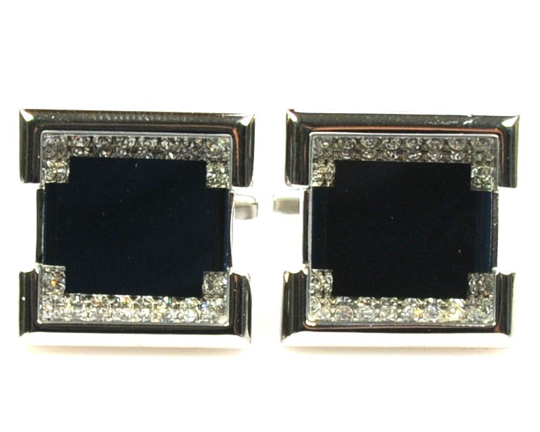 Rhinestone Platinum Plated navy cufflinks