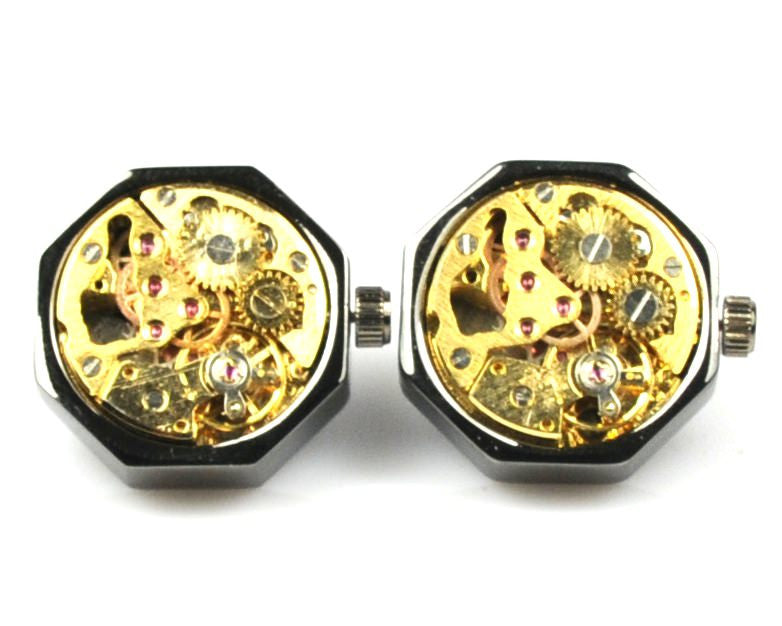 Handmade Steampunk Black Watch Cufflinks