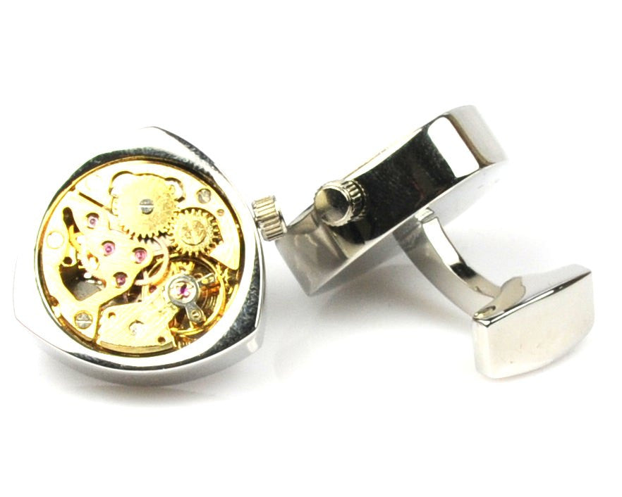 Steampunk Silver Triangle Watch Movement Cufflinks