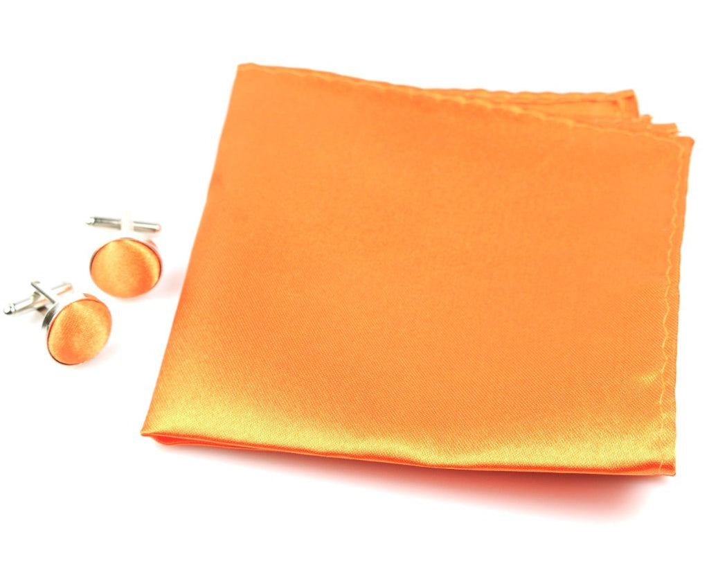 Orange Tie, handkerchief, cufflinks, 100% Silk