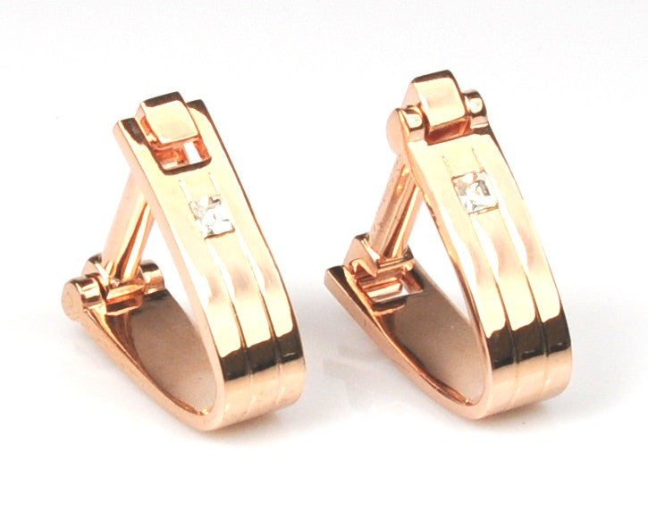 Rose Gold Plated Austrian Crystal Cufflinks