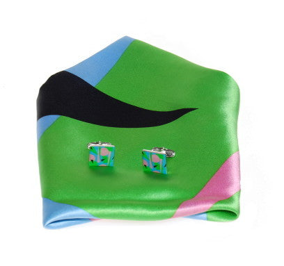 """Dada Movement"" Cufflinks with matching Scarf"