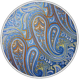 Paisley Light Blue Azure Yellow Tie, 100% Silk