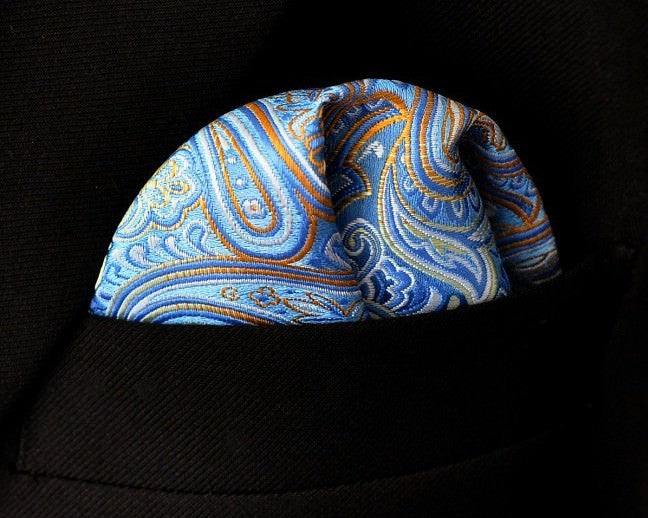 Paisley Blue Orange Handkerchief