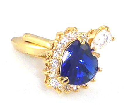 Royal Blue Sapphire Heart Cut Cufflinks