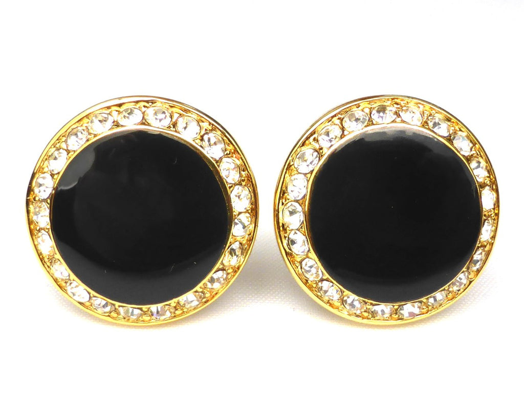 Round Rhinestone Black & Gold Cufflinks
