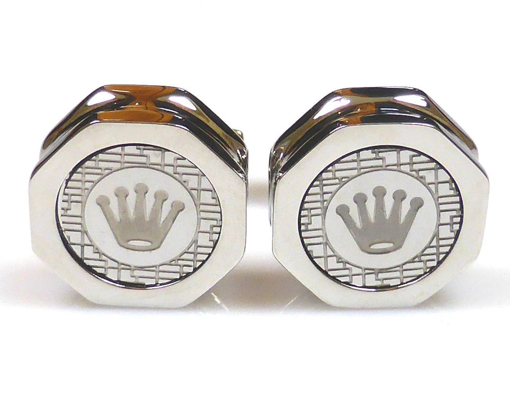 Rolex inspired platinum plated cufflinks