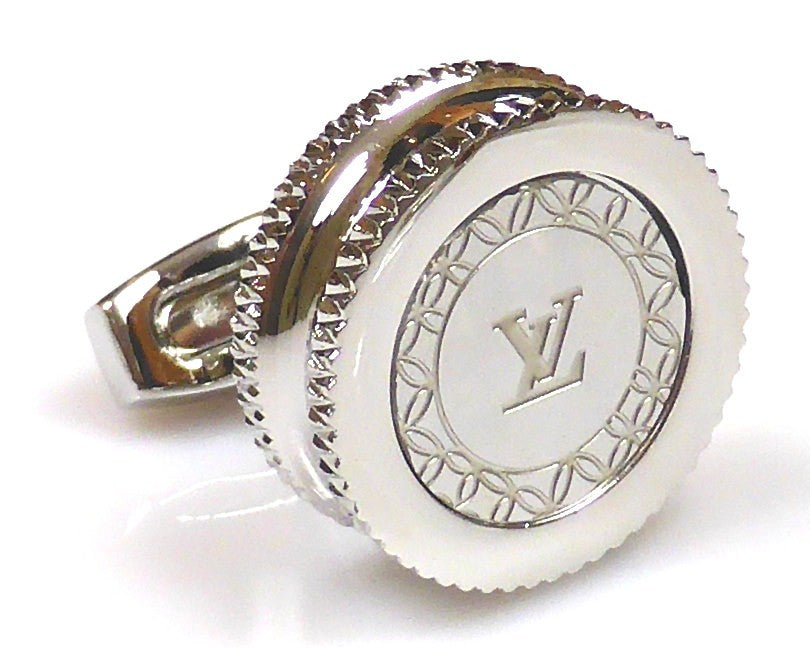 Louis Vuitton inspired platinum plated cufflinks