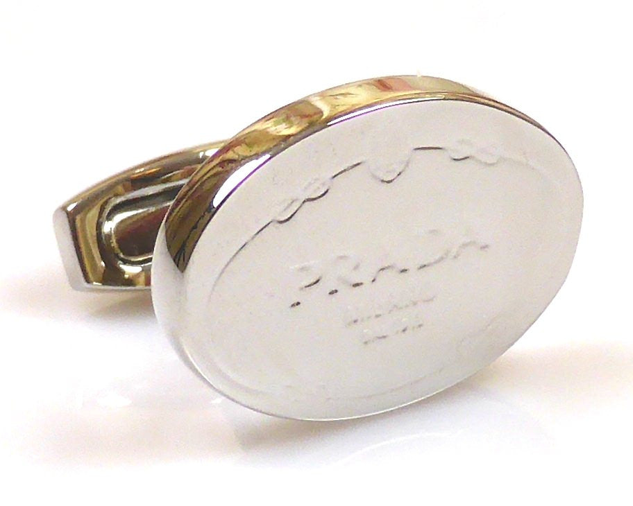 Prada inspired platinum plated cufflinks