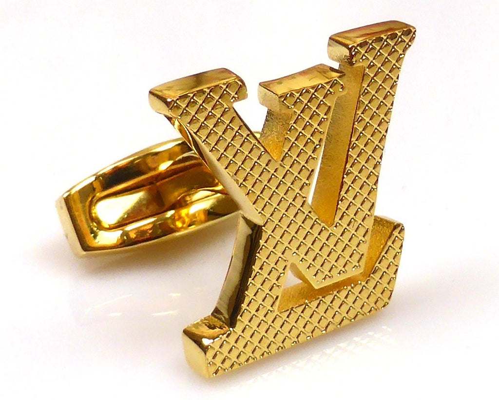 LV inspired 18K gold plated cufflinks