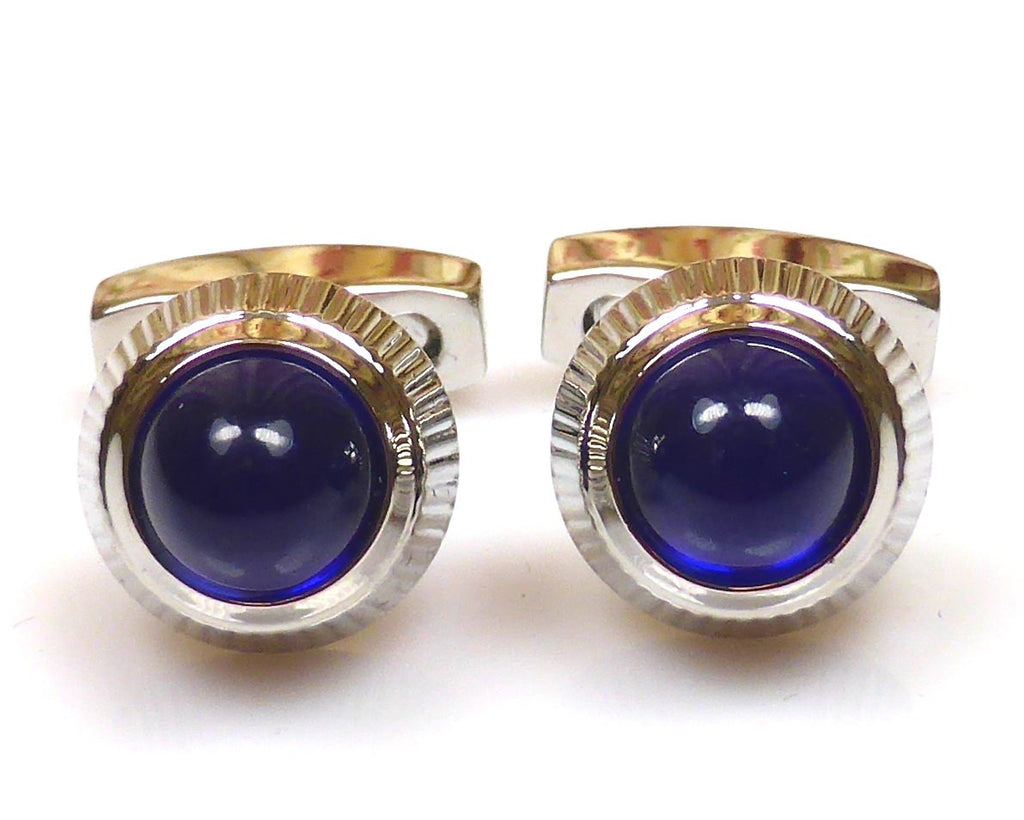 Cartier inspired platinum plated blue cufflinks