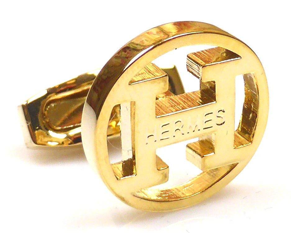 Hermes inspired 18K gold plated round cufflinks
