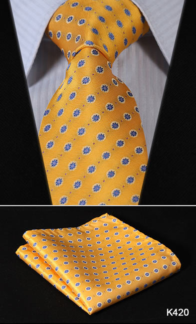 Orange Navy Blue Floral 100%  Silk Tie Necktie Set