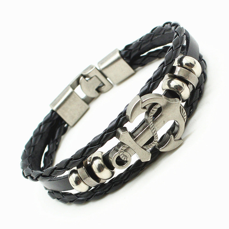 Leather Woven Anchor Charm Bracelet