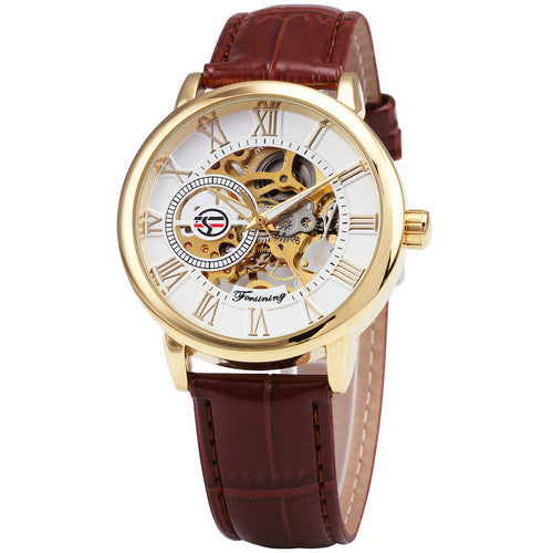 Forsining 3d Logo Royal Black Gold Mechanical Watch