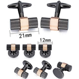 Black gun and Silver Rhodium Cylinder Cufflinks Tuxedo Studs Set