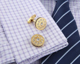 Crystal Gold round Cufflinks