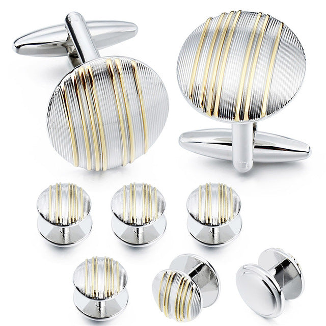 Classic Metal Round Cufflinks and Studs Set