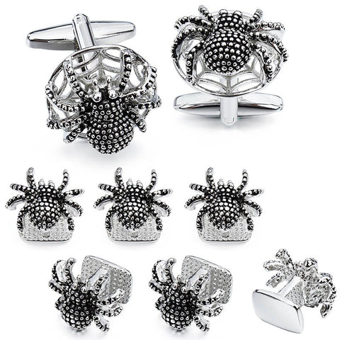 Silver Love Knot Cufflinks and Studs Set