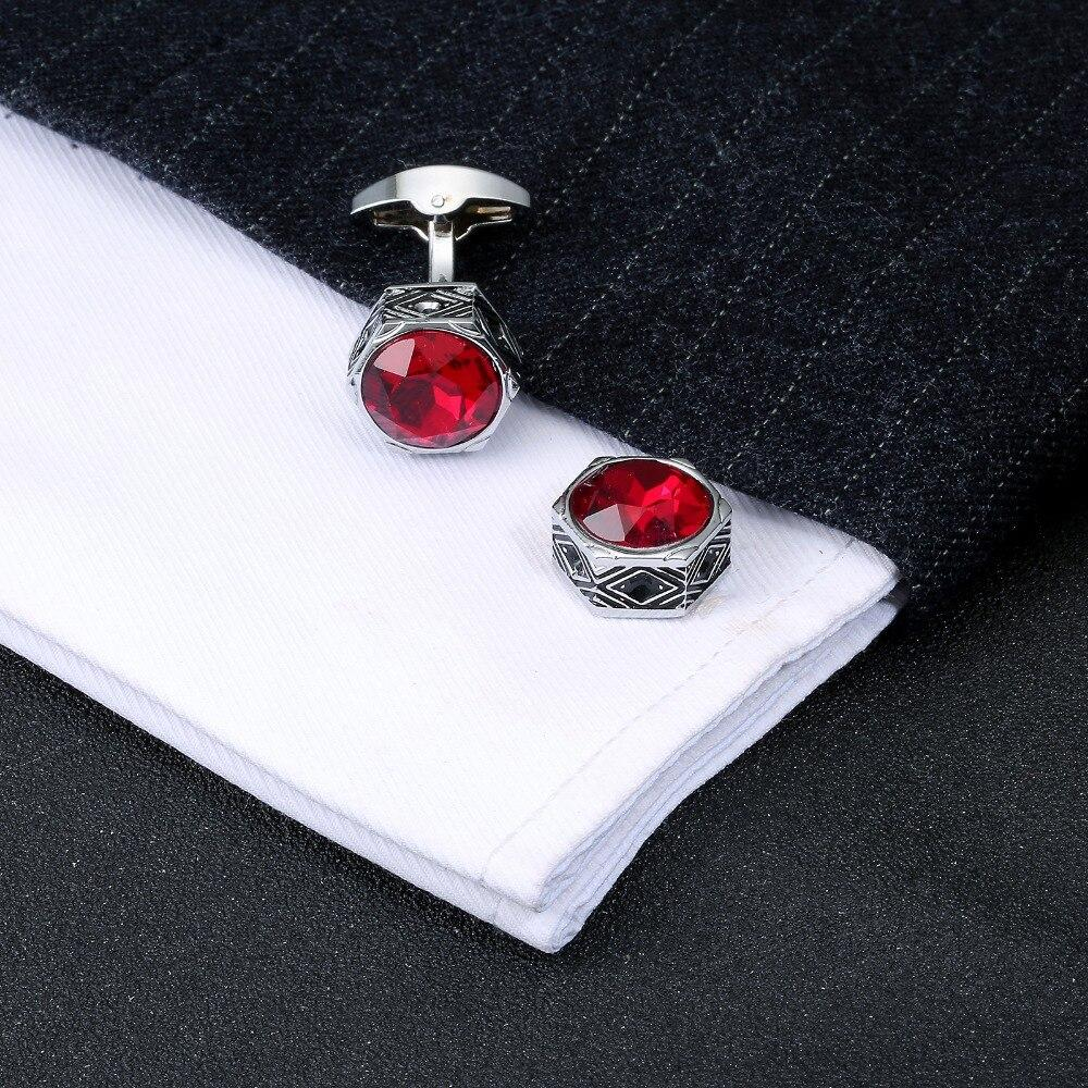 RETRO RED CRYSTAL CUFFLINKS