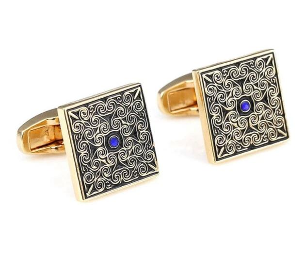 Blue zircon Gold Square Cufflinks