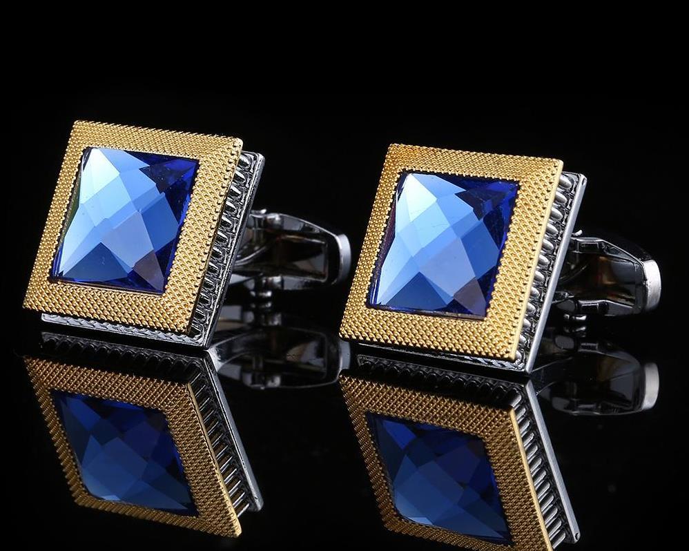 Blue Crystal Gold and Silver Cufflinks