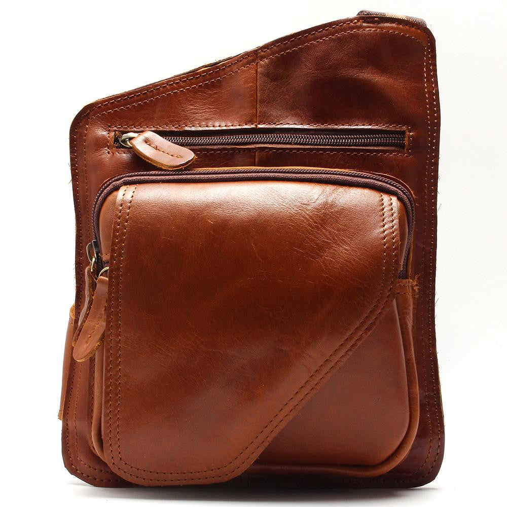 Casual Crazy Horse Leather Messenger Bag