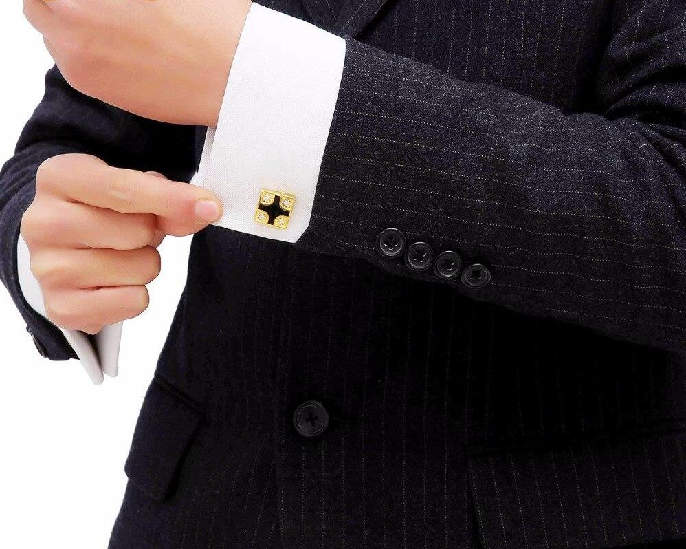 Square Crystal Gold Cufflinks