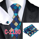 20 Style Mens Tie Set Fashion Plaid Silk Neck Tie Hanky Cuff links for Business Wedding Suit Jacquard Woven Ties for Men