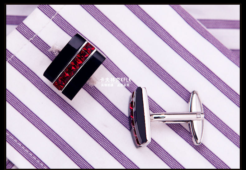 Red crystal silver cufflinks