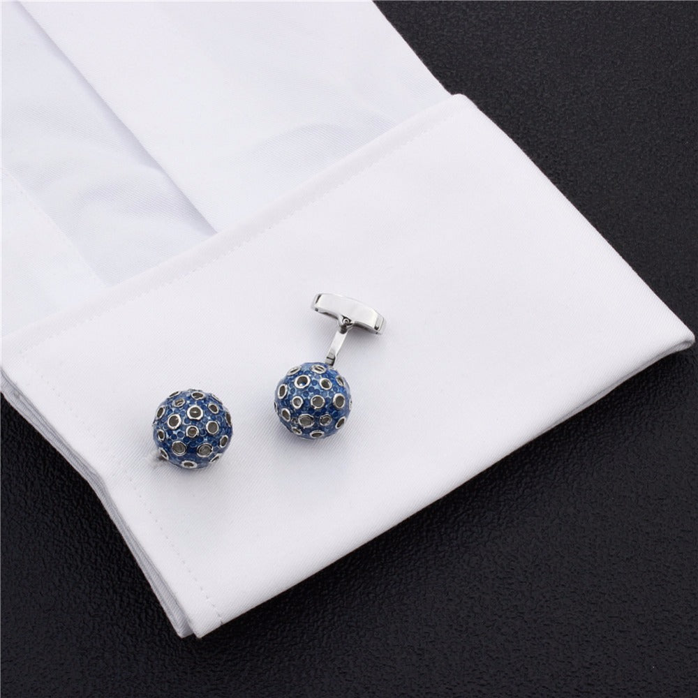 Blue and White Ball Cufflinks