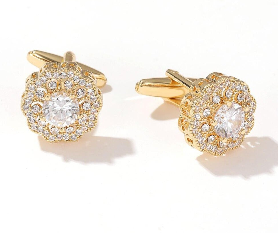 RHINESTONE GOLD CUFFLINKS
