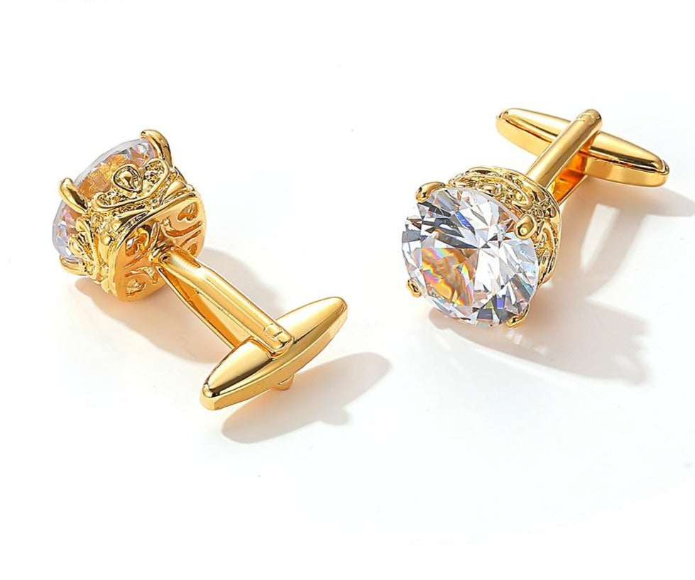 GOLD WHITE STONE CUFFLINKS