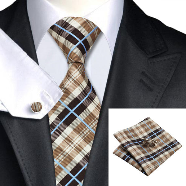 Brown Blue Tie Hanky Cufflinks Set