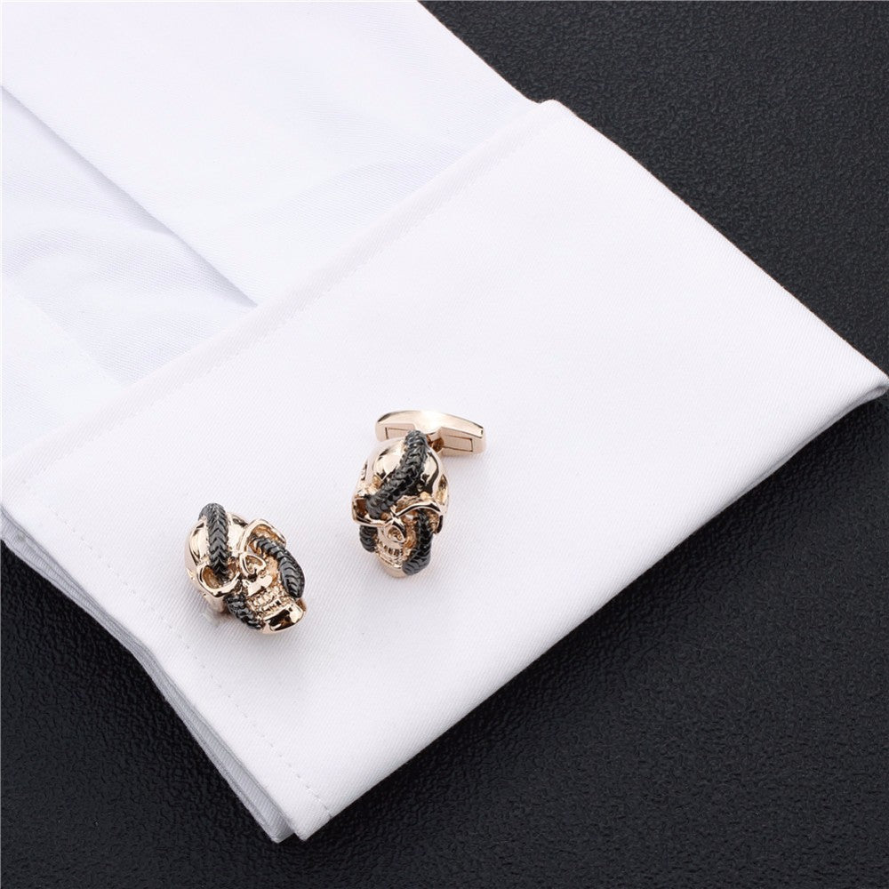 Rose Gold Skeleton with Snake Cross Eyes Cufflinks