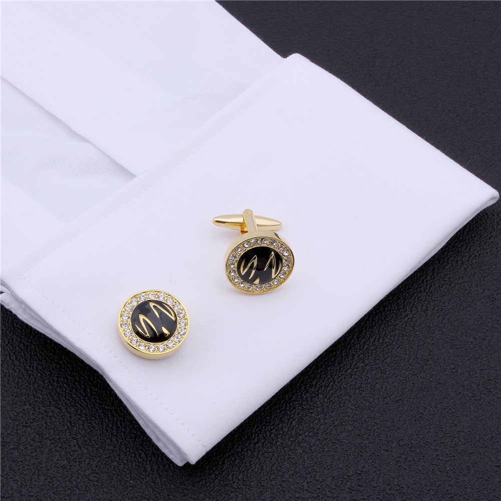 Round Gold Plated Black Enamel Cufflinks
