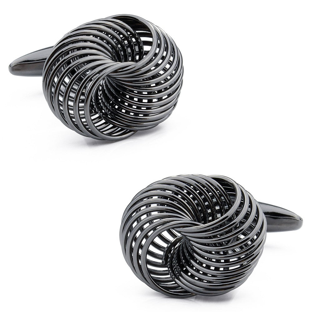 Silver and black gun plated knot cufflinks